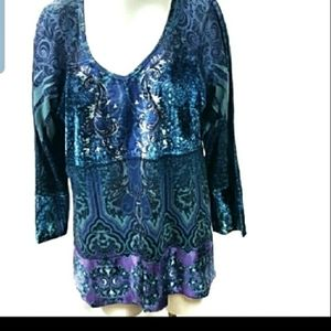 Live and Let Live Blue Tunic Shirt Size 3X